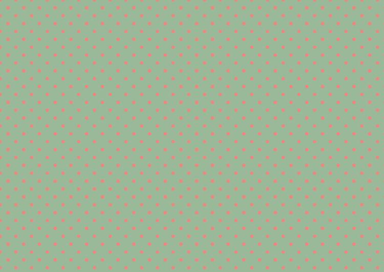 ライトグリーン・コーラル水玉柄素材