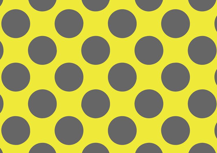 水玉フリー素材:黄色背景灰色ドット大